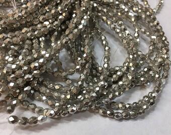 Silver Metallic Czech Glass Firepolished Crystal Beads 4mm
