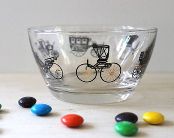 1950s Libbey  Antique Cars glass dessert bowl.
