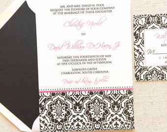 Damask Wedding Invitation - Thermography - Sample