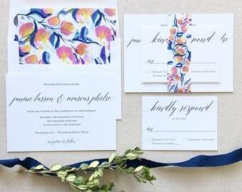 Navy Wedding Invitation - Garden Wedding Invitation - Fruit Flower Wedding Invitation