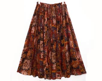 90's vintage cotton gauze BROOMSTICK SKIRT // full midi/maxi festival skirt // floral earth tones // S M L