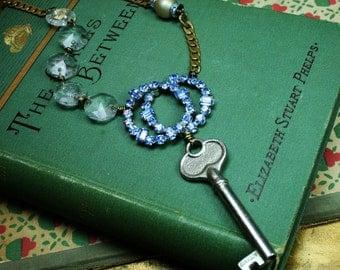 Vintage Key, Blue Rhinestone, Chandelier Crystal Upcycled Assemblage Necklace