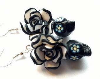 Black and White Day of the Dead Roses and Sugar Skull Earrings