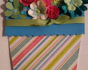 Striped spring flower pot card