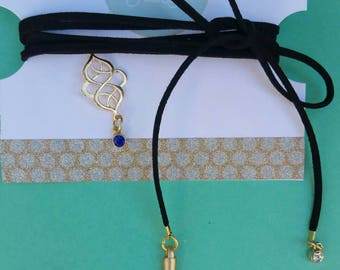 Trendy, Long Black Leather Shoelace Choker Necklace with Filigree and Blue Gold Charms