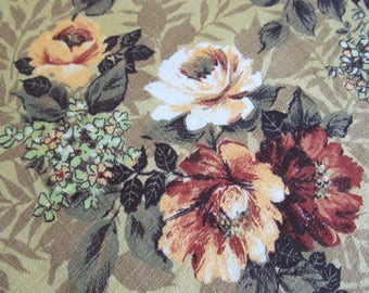 Vintage Barkcloth Nubby Fabric Curtains Roses 2 Pieces Retro Mid Century