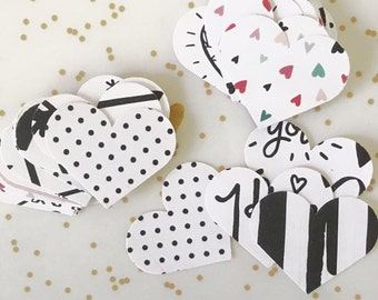Love Hearts Valentines Day, Modern Paper Embellishments Small Pk 55 - Wedding, Bonbonierri, Table Scatters, Cards