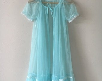 Vintage Blue Nightgown Cover Up