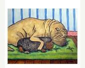 30% off Shar Pei Sleeping With a Toy Dog Art Print