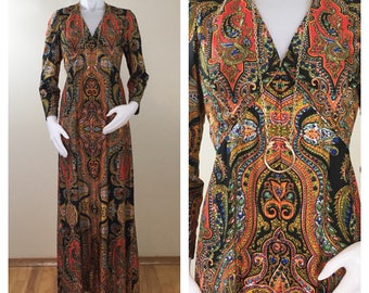 70s Black Red Gold Paisley Long Sleeve Empire Waist Maxi Dress, Size Medium