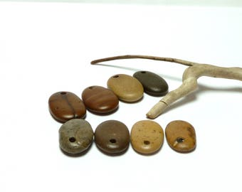 Genuine Drilled Beach Stones SHAKESPEARE Pendants Charms Jewelry Making River Rocks Beading Natural Organic Dangles River Rocks