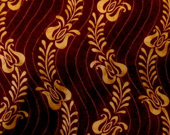 Cotton Fat quarter - Dark Red with Golden Yellow Tendril Pattern