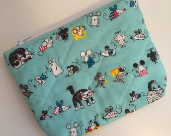 Cat and Mouse Clutch, Cat and Mouse Pouch, Cat and Mouse Wallet,  Cat and Mouse Zipper Pouch