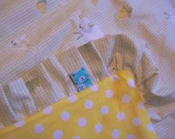 yellow polka dots and lambs child's blanket