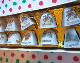 holiday hand painted china bells