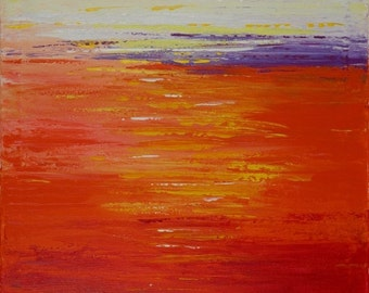 """Boat Painting red yellow orange purple white Original artwork Seascape wall art wall decor gift for men """"Home Bound Sunset"""" by qiqigallery"""