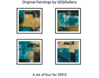 Turquoise gold black painting quadriptych art Set of four original art painting on paper wall decor home decor by qiqigallery-free shipping