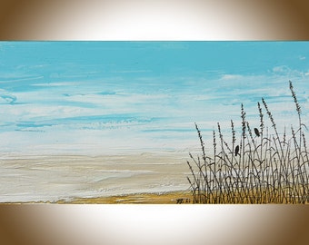 Seascape beach painting Birds blue white Original art canvas art Home decor wall hanging love birds valentine's day gift by qiqigallery