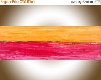 Colourful abstract landscape painting original art painting on canvas art red magenta orange yellow wall art wall Decor by qiqigallery