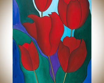 "Spring Tulip painting Original Oil painting red flowers painting home decor wall art Canvas art gift for her ""Spring Tulips"" by QIQIGallery"