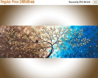 """Canvas art Blue Brown love Birds Art narrow art Impasto acrylic painting wall art wall hanging """"Beautiful Love"""" by qiqigallery"""