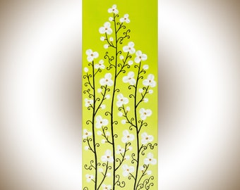 White flowers wall art Yellow green canvas art original artwork home decor wall decor Mother's Day gift for her by qiqigallery