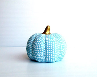 Small Hand painted ceramic pumpkin Blue and white pumpkin
