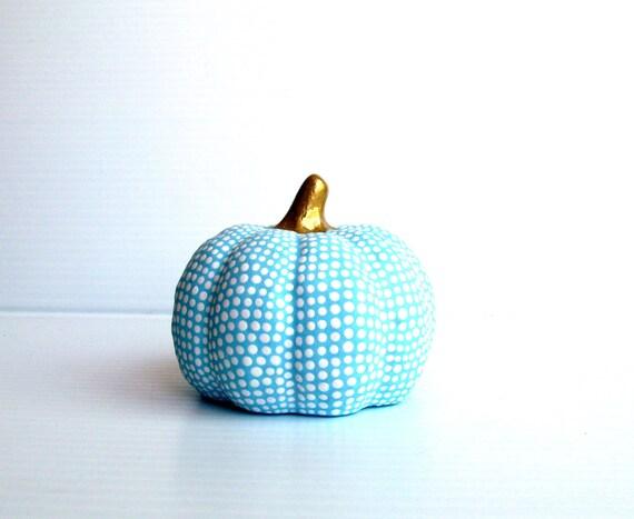 Small Hand painted ceramic pumpkin Blue and white pumpkin