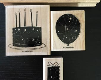 Birthday Whimsy wood mount stamp set by Stampin' Up! Birthday cake stamp Balloon stamp Birthday present stamp Happy Birthday stamp