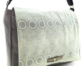 New Grey Circles Retro CLOUDS MESSENGER Book Laptop Diaper BAG