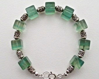Green Fluorite Cubes and Sterling Silver Bracelet