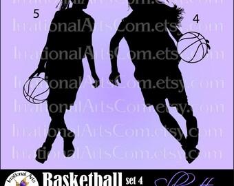 Basketball Silhouettes Pose 4 & 5 Girls - 2 Vector Vinyl Ready EPS SVG PNG clip art digital graphics basketballs {Instant Download}