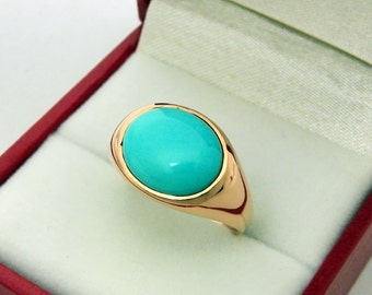AAAAA Sleeping Beauty Turquoise Cabochon   12x10mm  3.40 Carats   in 14K Rose gold ring.  1352