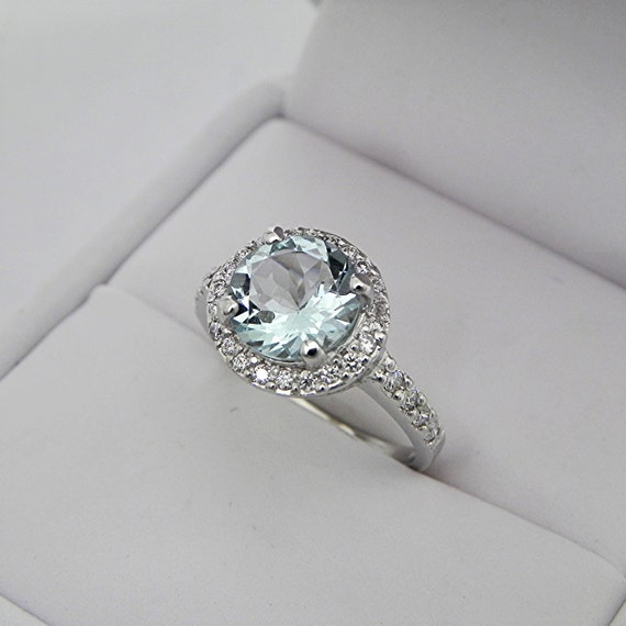 AAA Round Aquamarine   1.65 Carats   set in 14K white gold Halo engagement ring with .25 carats of diamonds 3065 MMM