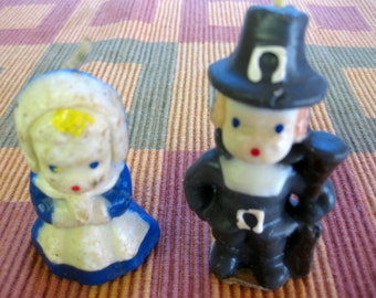 Vintage Gurley Pilgrim Candles, Boy and Girl Candles, Unused