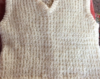 VINTAGE CHILDS  VEST, Hand knitted, cream, unisex, holiday wear, sweater vest