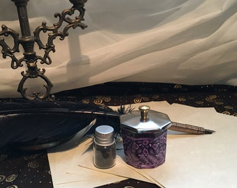 Inkwell and Quill Set in Shades of Purple