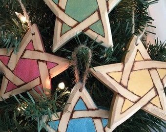 Primitive Wood Pentagram Ornaments in Colors of the Elements Set of Four