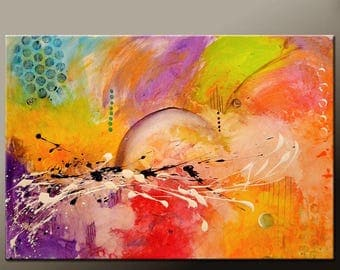 Abstract Canvas Art Painting Canvas 36x24 Original Modern Contemporary Paintings by Destiny Womack - dWo - Balancing Chaos
