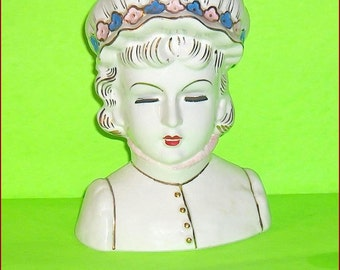 On SALE  Large and Lovely Head Vase Pretty Lady Flower Arranger