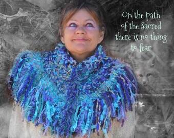 Angel Blues Wunjo Crow Crochet Warm chunky textured Hugawl Shawl Poncho neck warmer