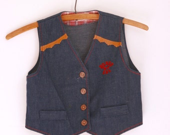 Vintage girls denim vest by Healthtex size 4t 5t rodeo gal