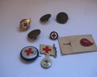 Lot of Vintage and Antique Red Cross Pins