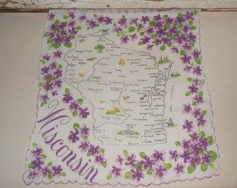 Vintage Wisconsin State Handkerchief Hankie Cotton Souvenir Map