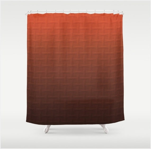 rust and brown ombre color fabric shower curtain in a big bold