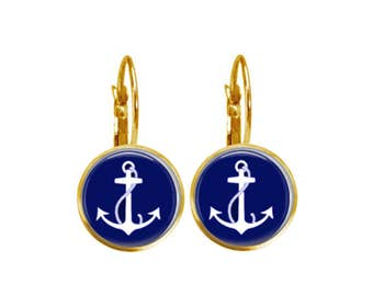 Anchor Earrings, Navy Anchors, Glass Earrings, Preppy Jewelry, Nautical Jewerly, Nautical Earrings, Gift Under 20  (Navy Anchors)