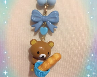 Rilakkuma Bear Baked Bread Bow Necklace