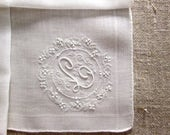 Vintage Madeira Bridal Handkerchief L Monogrammed Initial Personalized Wedding White Embroidered Antique Linen Gift for Her