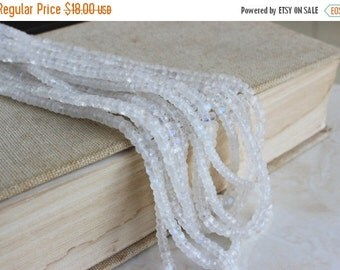 Black Friday Sale Moonstone Gemstone Rainbow White Faceted Rondelle 4 to 4.5mm 70 beads 1/2 Strand