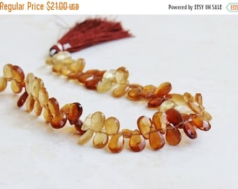 Final 51% off Sale Hessonite Garnet Gemstone Briolette Faceted Pear Teardrop 9 to 9.5mm 23 beads
